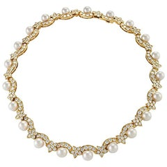 Van Cleef & Arpels Diamond Pearl and Gold 'Star' Necklace