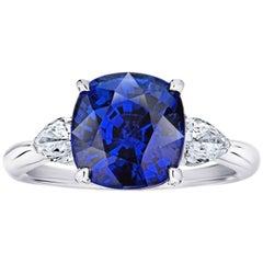 5.42 Carat Cushion Blue Sapphire and Diamond Platinum Ring