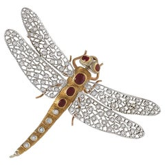 Buccellati 1960s Diamond Ruby and Gold Dragonfly Brooch