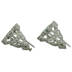 Petite Diamond Brooch Clips in Platinum, circa 1930s