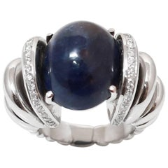 Large 31 Carat Cabochon Sapphire Diamonds 18 Karat White Gold Cocktail Ring