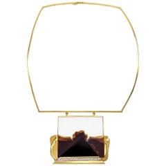 Franz Huppertz, Modernist Gold, Diamond Agate and Ceramic Choker Necklace