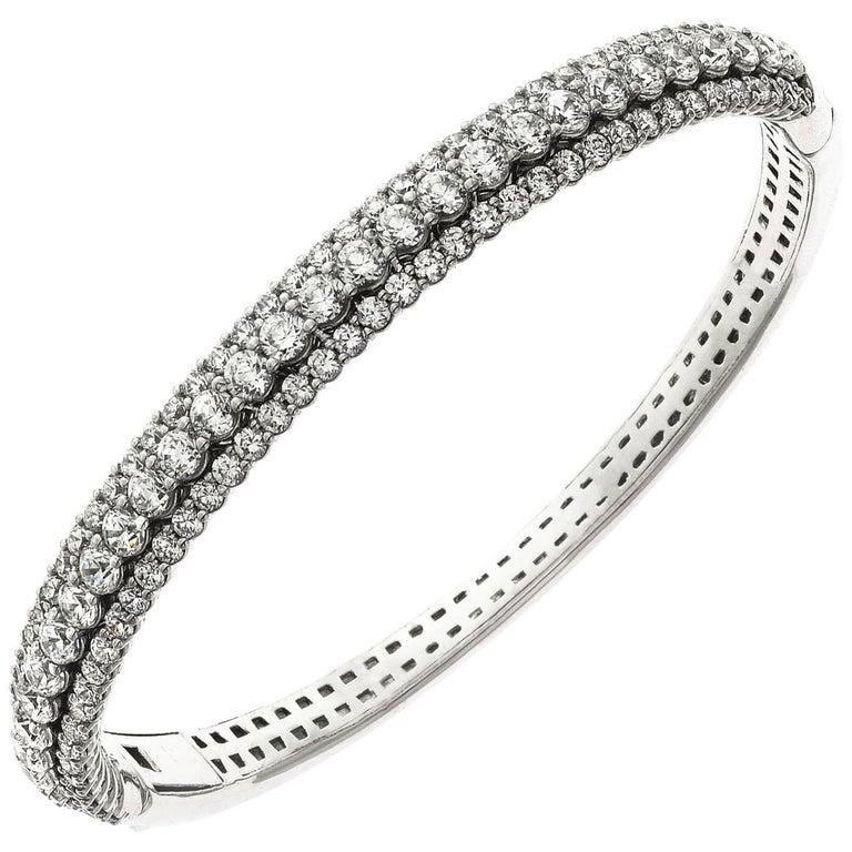 Emilio Jewelry 7.50 Carat Diamond Bangle Bracelet For Sale