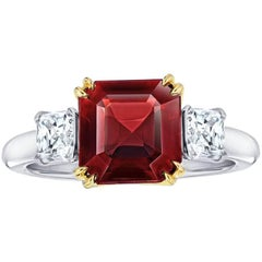 4.09 Carat Asscher Cut Red Spinel and Diamond Platinum and 18k Yellow Gold Ring