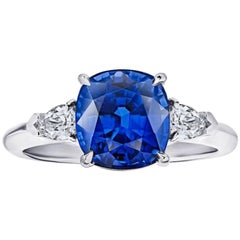4.13 Carat Cushion Blue Sapphire and Diamond Ring