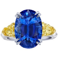9.08 Carat Oval Blue Sapphire and Fancy Yellow Diamond Platinum and 18k Ring