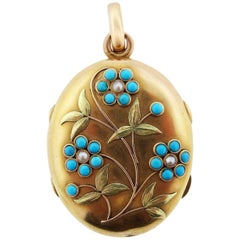 Antique Victorian Turquoise and Pearl Locket