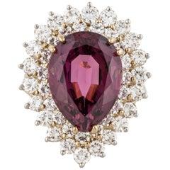18 Karat Platinum Rhodalite Garnet Ring