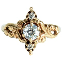 Ladies Ring Set with Three Diamonds, Victorian, circa 1880