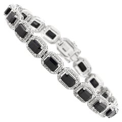 16.15 Carat Black Sapphire and Diamond Bracelet