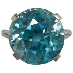 Art Deco 20 Carat Blue Zircon Diamond Platinum Cocktail Ring Round 1920 Vintage