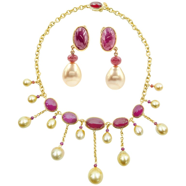 Cabochon Ruby Necklace and Earring Set