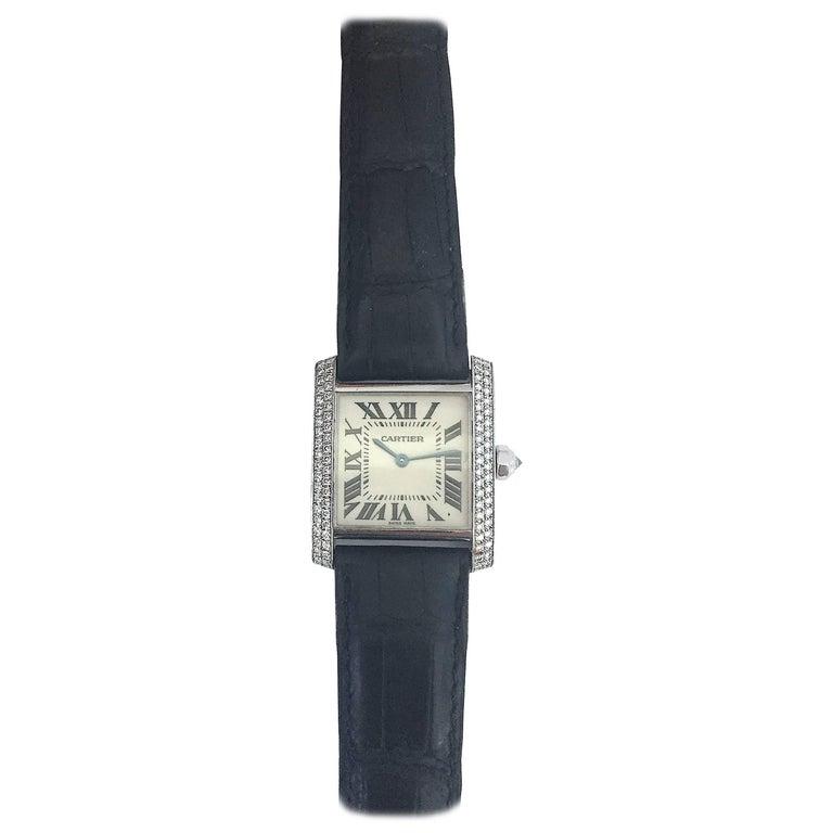 Cartier Ladies White Gold Diamond Tank Quartz Wristwatch