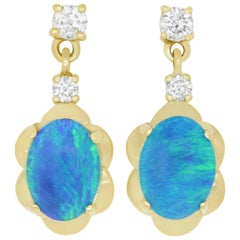 1.82 Carat Oval Opal and Diamond Drop Flower Earrings