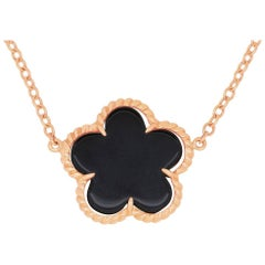 1.08 Carat Black Onyx Flower Necklace