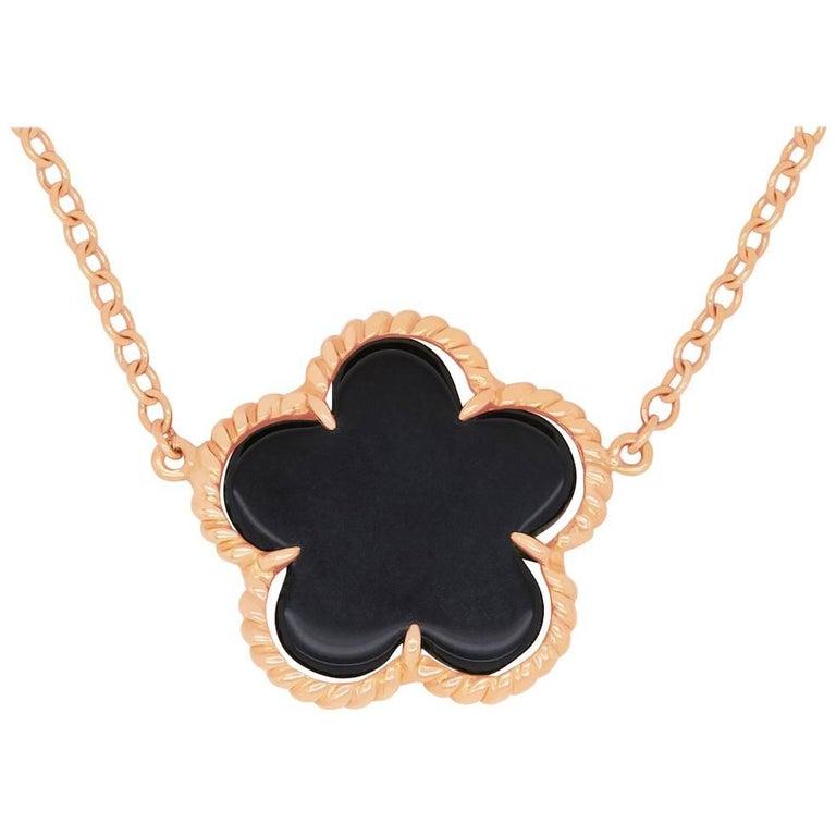 1.08 Carat Black Onyx Flower Necklace