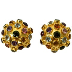 "H. Stern ""Sputnik"" Gemstone Dome Earrings in 18 Karat Gold, circa 1950s"