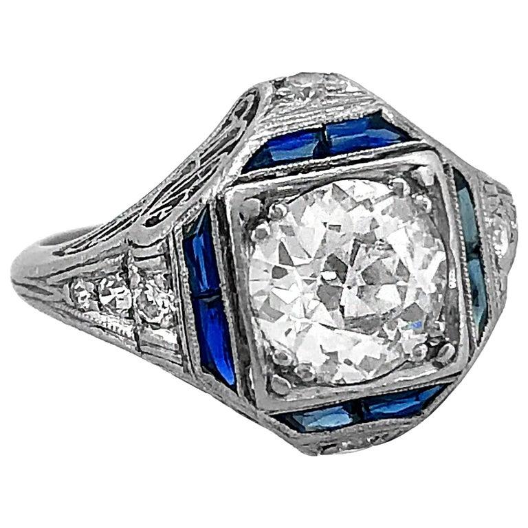 Art Deco 1.30 Carat Diamond Sapphire Antique Engagement Ring Platinum