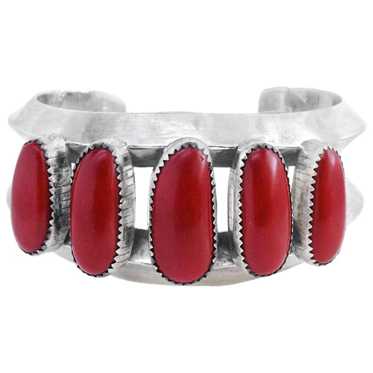 Navajo Coral Set Sterling Cuff Bracelet