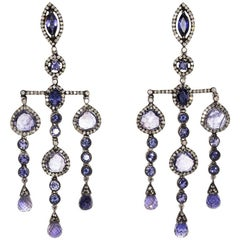 Iolite and Diamond Dangle Earrings