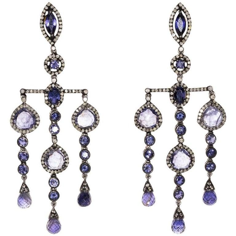 Iolite and Diamond Dangle Earrings For Sale
