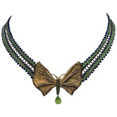 Lapis Lazuli, Peridot, 14k Gold filed Necklace with Butterfly center by Marina J