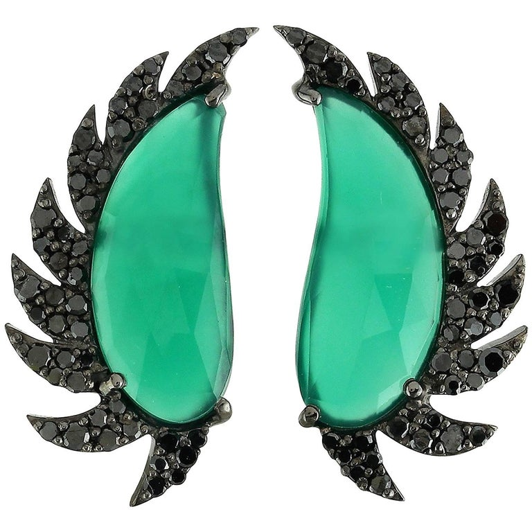 Claw Half Moon Studs Green Chalcedony and Black Diamonds For Sale