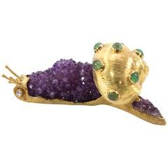 Amethyst Sapphire Diamond Gold Escargot Snail Sculpture