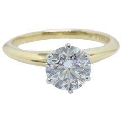 Tiffany & Co. Round Diamond Ring 1.52 CTS G SI1 in 18k Yellow Gold