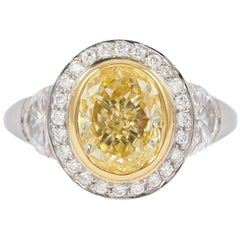 J. Birnbach GIA Certified 2.07 Carat Fancy Yellow Oval Diamond Ring