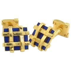 Tiffany & Co. Schlumberger 18 Karat Gold and Blue Enamel Basketweave Cufflinks
