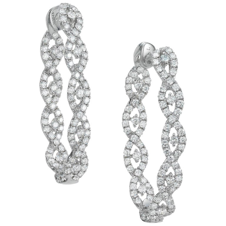 White Gold and Diamond Hoop Earrings For Sale