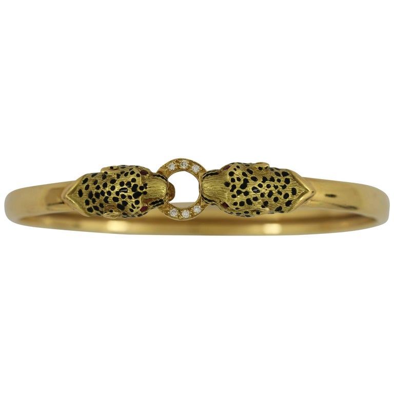 Gold Big Cat Bangle Featuring Enamel Diamonds and Rubies