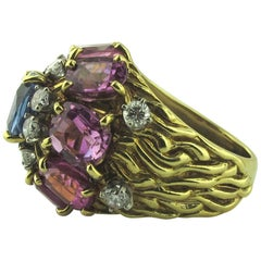 Multi-Color Blue and Pink Sapphire Ring with Diamonds in 18 Karat Yellow Gold