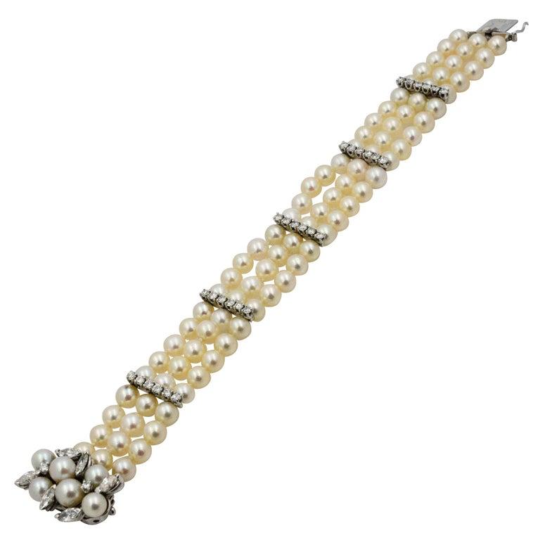 4.17 Carat Diamonds Three-Strands Pearls White Gold Bracelet