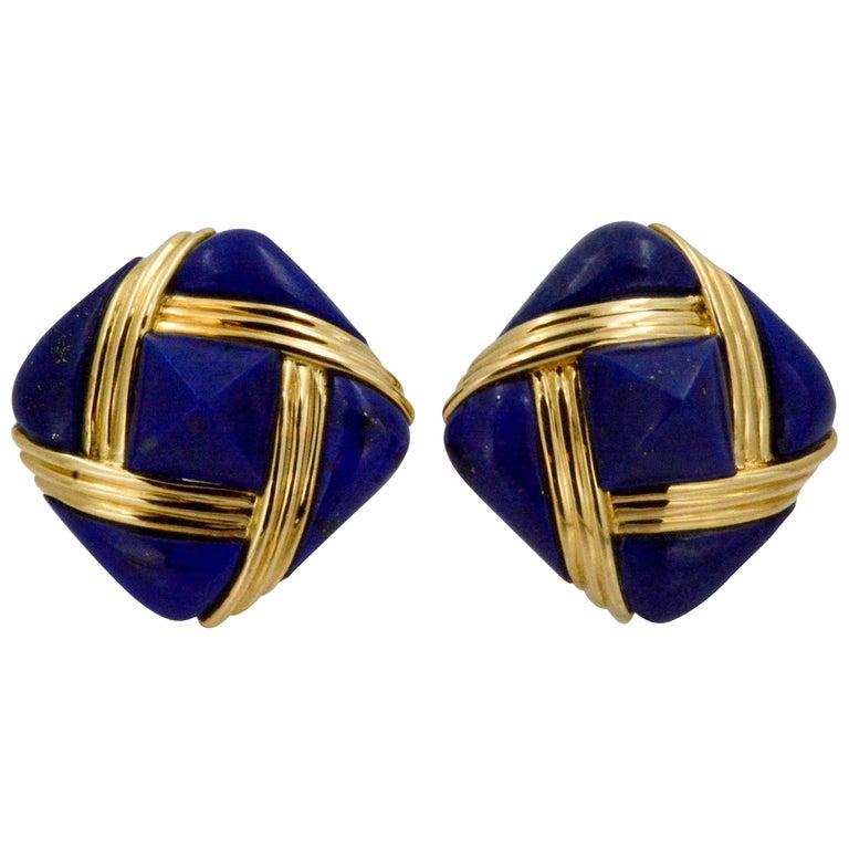 Lapis Lazuli 18 Karat Yellow Gold Square Clip-On Earrings