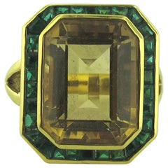 18 Karat Yellow Gold Citrine and Emerald Framed Ring