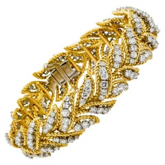 French Retro/Modern 9.00 Carat Diamond 18 Karat Yellow Gold Bracelet