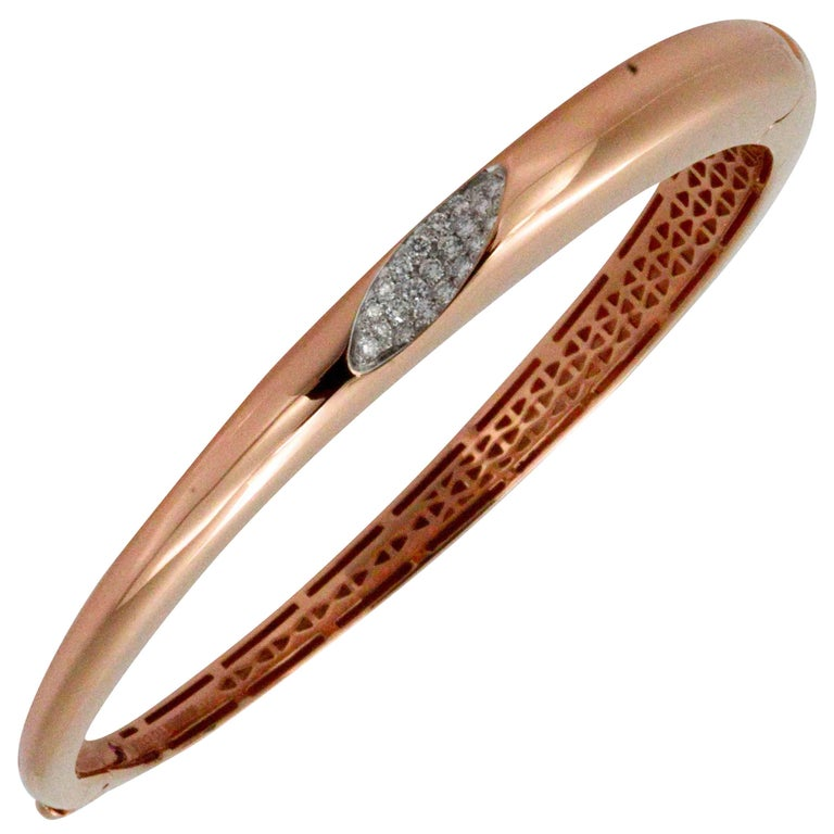 Roberto Coin 18 Karat Rose Gold Italian Hinged Bangle Bracelet