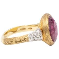 Marco Bicego Pink Tourmaline Jaipur Ring 18 Karat Yellow Gold with Diamonds