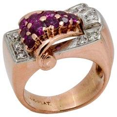 Art Deco Platinum, 14 Karat Rose Gold Ruby Diamond Ring