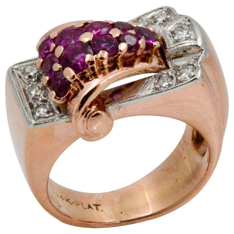 Art Deco Platinum, 14 Karat Rose Gold Ruby Diamond Ring