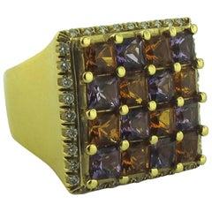 18 Karat Yellow Gold Citrine, Amethyst and Diamond Square Cut Ring