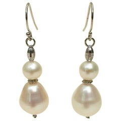 Double Pearl Earrings with Platinum Plated Silver Beads by Marina J.