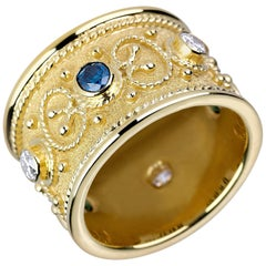 Georgios Collections 18 Karat Yellow Gold Diamond Ring with Blue, White Diamonds