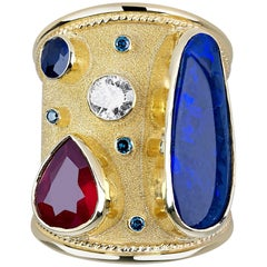 Georgios Collections 18 Karat Gold Ring with Opal Ruby Sapphire and Blue Diamond