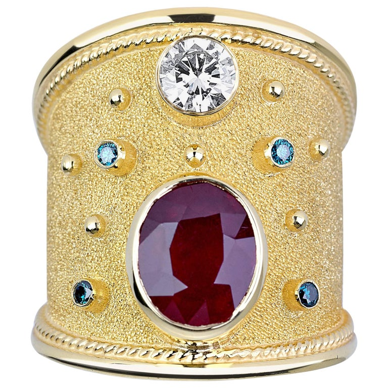 Georgios Collections 18 Karat Yellow Gold Byzantine Ring with Ruby and Diamonds