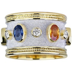 Georgios Collections 18 Karat Yellow Gold Byzantine Ring with Sapphires Diamonds