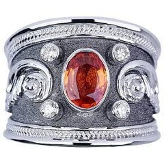 Georgios Collections 18 Karat White Gold Diamond Ring with Orange Sapphire