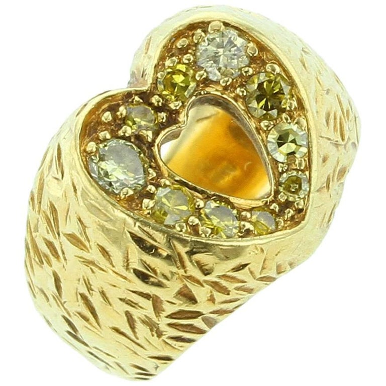 18 Karat Yellow Gold and Fancy Diamond Heart Shape Ring
